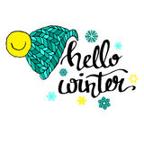 Calligraphie de fond de salutation de bannière des textes d'hiver bonjour Photographie stock libre de droits