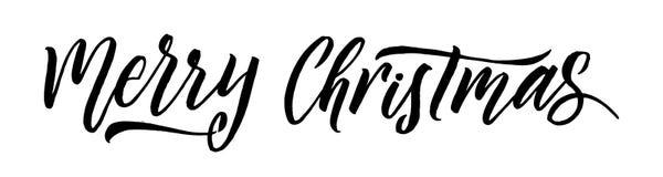 Calligraphie de Joyeux Noël Design de carte de salutation sur le fond blanc illustration de vecteur