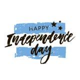 Calligraphie de lettrage de drapeau de vecteur d'expression de Jour de la Déclaration d'Indépendance de Viva Argentina Photos libres de droits