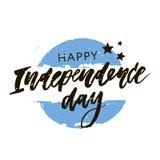 Calligraphie de lettrage de drapeau de vecteur d'expression de Jour de la Déclaration d'Indépendance de Viva Argentina Photo libre de droits