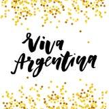 Calligraphie de lettrage de vecteur d'expression de Jour de la Déclaration d'Indépendance de Viva Argentina Images libres de droits