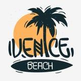 Calligraphie de Logo Hand Drawn Lettering Modern de signe de label de palmier de Venice Beach Los Angeles la Californie pour le T illustration de vecteur