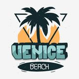 Calligraphie de Logo Hand Drawn Lettering Modern de signe de label de palmier de Venice Beach Los Angeles la Californie pour le T illustration libre de droits