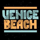 Calligraphie de Logo Hand Drawn Lettering Modern de signe de label de palmier de Venice Beach Los Angeles la Californie pour le T illustration stock