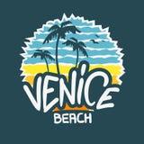 Calligraphie de Logo Hand Drawn Lettering Modern de signe de label de Venice Beach Los Angeles la Californie pour le T-shirt ou l illustration stock