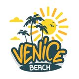 Calligraphie de Logo Hand Drawn Lettering Modern de signe de label de Venice Beach Los Angeles la Californie pour le T-shirt ou l illustration de vecteur