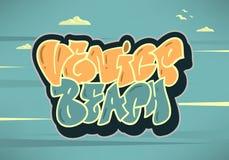 Calligraphie de Logo Hand Drawn Lettering Modern de signe de label de Venice Beach Los Angeles la Californie pour le T-shirt ou l illustration libre de droits