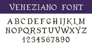 Calligraphie de police écrite par main Police décorative VENEZIANO de stylo d'encre de vintage Lettres et nombres tirés par la ma Photos libres de droits