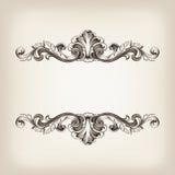 Calligraphie de trame de cadre de cru gravant le vecteur baroque Images stock