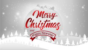 Calligraphie de typographie de Joyeux Noël et de bonne année Lettrage saisonnier bannière de conception de disposition de fond Il Images stock