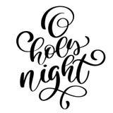 Calligraphie de vacances de nuit d'O de Noël saint de lettrage et de nouvelle année illustration de vecteur