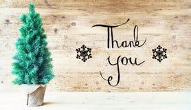Calligraphie, merci, arbre de Noël image libre de droits