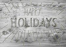 Calligraphie noire bonnes fêtes, Gray Wooden Background photo stock