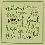 Calligraphie réglée : eco, bio, vegan, naturel, organique, menu, gluten Photo libre de droits
