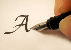 Calligraphy 2. Calligraphy pen and writing Stock Photos