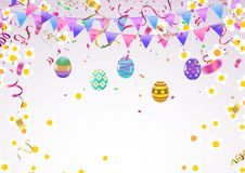 Calligraphy with Abstract Balloons Bunny Ears, Happy Easter background holiday celebration poster design. Vector illustration. Eps.10 Stock Photo