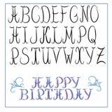 Calligraphy alphabet. Decorative alphabet with calligraphy elements vector illustration