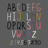 Calligraphy alphabet on grey background. Vector handwright calligraphy alphabet and numbers on grey background Stock Image