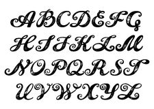Calligraphy alphabet typeset lettering. Royalty Free Stock Images