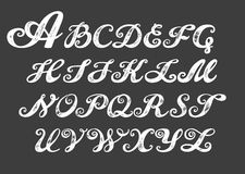 Calligraphy alphabet typeset lettering. Royalty Free Stock Image