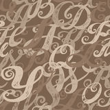 Calligraphy alphabet typeset lettering. Seamless wallpaper pattern. Hand drawn sketch of ABC letters in old fashion vintage style Royalty Free Stock Images