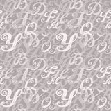 Calligraphy alphabet typeset lettering. Seamless wallpaper pattern. Hand drawn sketch of ABC letters in old fashion vintage style Royalty Free Stock Photography