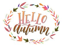 Calligraphy art poster/banner `Hello autumn` on a white background. Autumn / fall poster, banner, print, greeting card, invitation template. Hand lettered stock illustration
