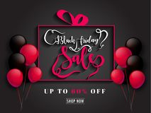 Calligraphy of Black Friday Sale with Upto 60% discount offer on. Black background decorated with balloons vector illustration