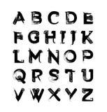 Calligraphy brush alphabet. Thick lines. Hand drawed alphabet set, dry brush vector illustration