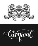 Calligraphy brush lettering text design element and carnival mas. K for cards, banners, flyer print, vector illustration isolated on black and white Royalty Free Stock Photo