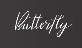 Calligraphy `Butterfly` inscription - sophisticated logo design. Couple business card designs included. Luxury brand identity. Calligraphy `Butterfly` Stock Photography