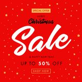 Calligraphy Christmas Sale, Happy New Year red banner Royalty Free Stock Photo