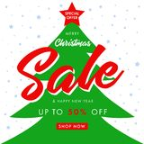 Calligraphy Christmas Sale and Happy New Year, spruce tree banner. Merry Christmas sale banner with text special offer Sale 50% off and green peen tree on white Vector Illustration