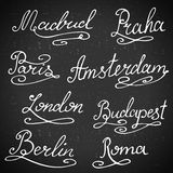 Calligraphy collection. Hand-lettering city names. City emblems vector illustration Royalty Free Stock Photography