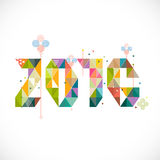 2016 calligraphy with colorful geometric pattern decoration Stock Photo