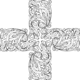 Calligraphy cross. Vector Illustration. No Meshes Royalty Free Stock Photography