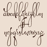 Calligraphy cursive font. Handwritten pointed pen ink style dacorative calligraphy cursive font. Calligraphy alphabet. Cute calligraphy letters.  letter elements Stock Photo