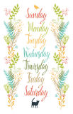 Calligraphy Days of the week with flowers Stock Photo