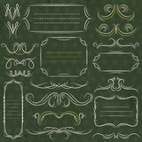 Calligraphy decorative borders, ornamental rules, dividers, vect. Or Stock Photos