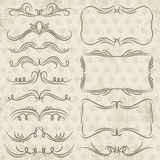 Calligraphy decorative borders, ornamental rules, dividers. Vector Royalty Free Stock Image