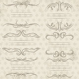 Calligraphy decorative borders, ornamental rules, dividers. Vector Stock Image