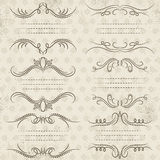 Calligraphy decorative borders, ornamental rules, dividers Royalty Free Stock Photos
