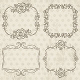 Calligraphy decorative borders with roses,  vector Stock Image