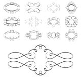 Calligraphy design elements, ornaments page templates labels Stock Images