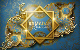 Calligraphy design for Ramadan. Ramadan Kareem calligraphy around two frames, with complicated Islamic pattern, blue background royalty free illustration
