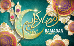 Calligraphy design for Ramadan. Kareem, with crescent decoration, lantern decorations and flower shaped patterns