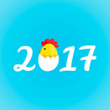 Calligraphy 2017 flat style creative  cartoon illustration. Chicken cock egg. Happy 2017 new year Royalty Free Stock Images