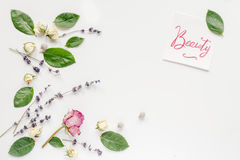 Calligraphy floral pattern top view mock up beauty Stock Images
