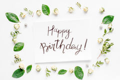 Calligraphy floral pattern top view mock up - Happy Birthday. Concept calligraphy and floral pattern top view mock up - Happy Birthday Royalty Free Stock Photography
