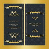 Vintage wedding invitation card vector design gold color royalty free stock photography